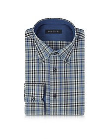 Gray & Blue Plaid Cotton Slim Fit Men's Shirt - Forzieri