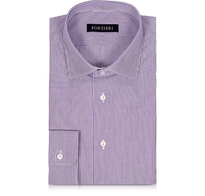 Purple & White Striped Cotton Slim Fit Men's Shirt - Forzieri