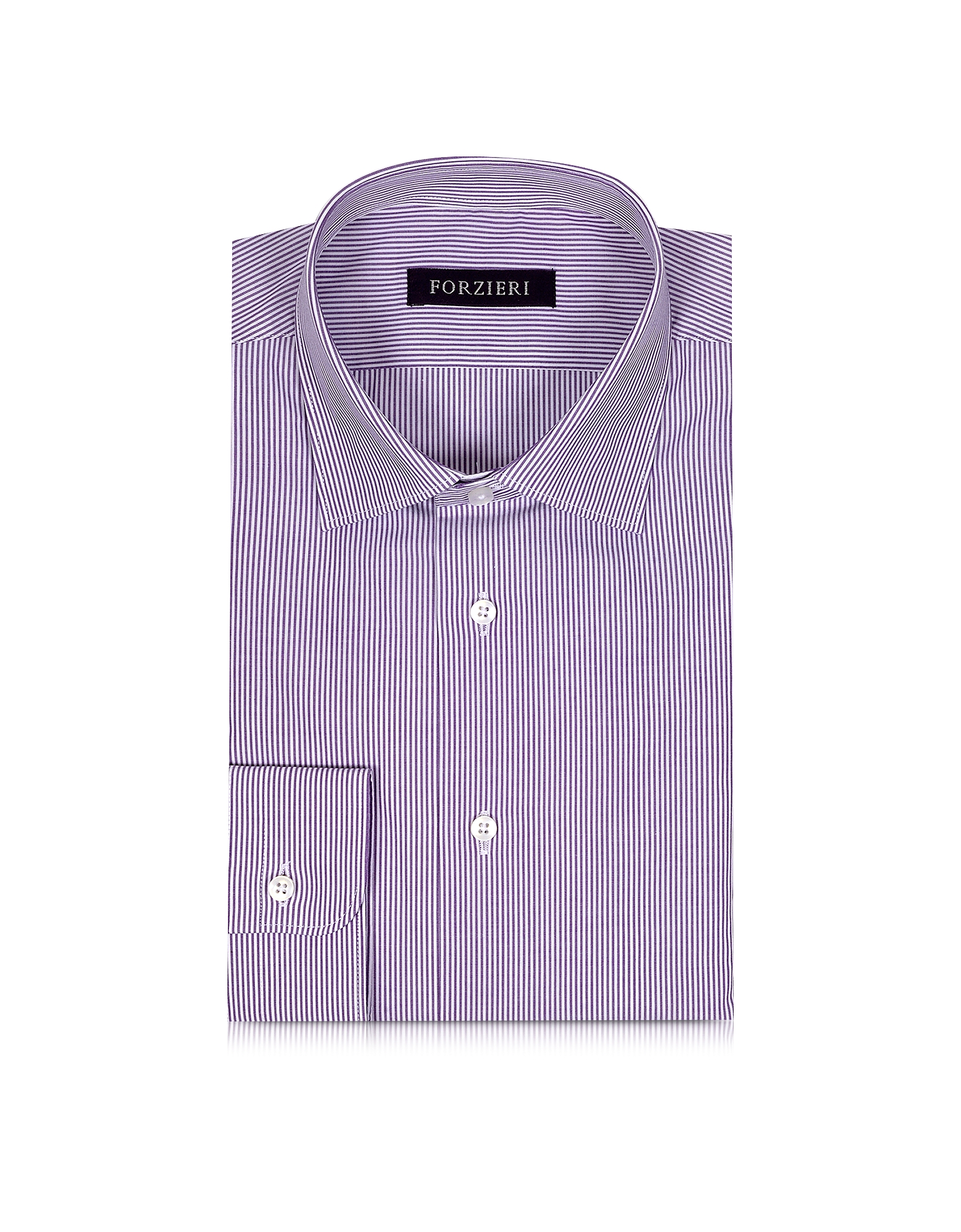 Purple & White Striped Cotton Slim Fit Men's Shirt