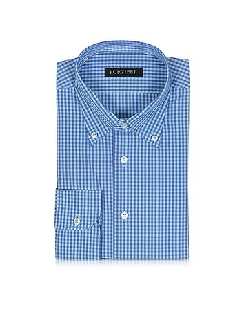 Forzieri Chemise Cintrée en Coton Bleu et Bleu Clair à Carreaux