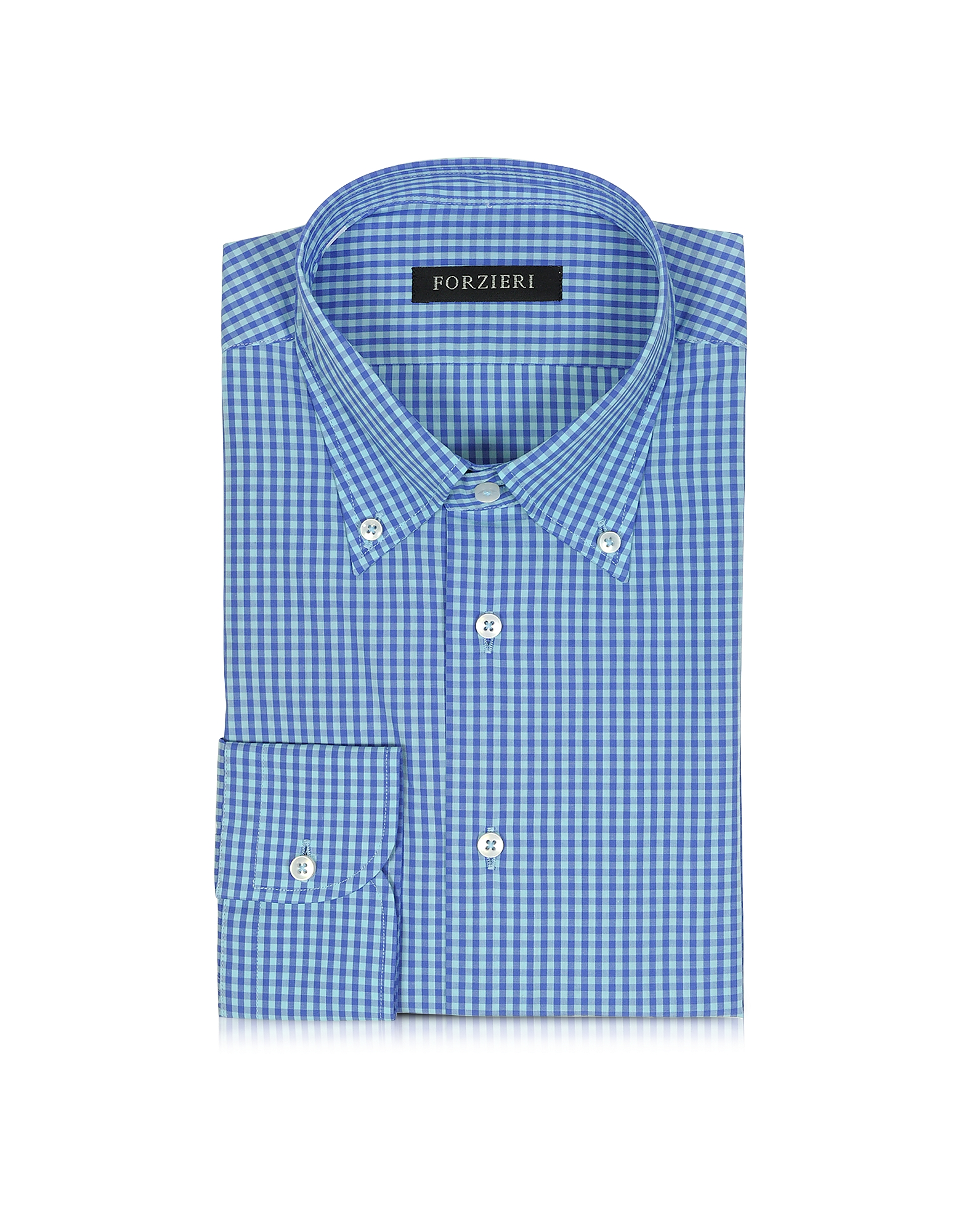 Blue & Light Blue Checked Cotton Slim Fit Men's Shirt