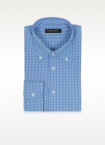Blue & Light Blue Checked Cotton Slim Fit Men's Shirt - Forzieri