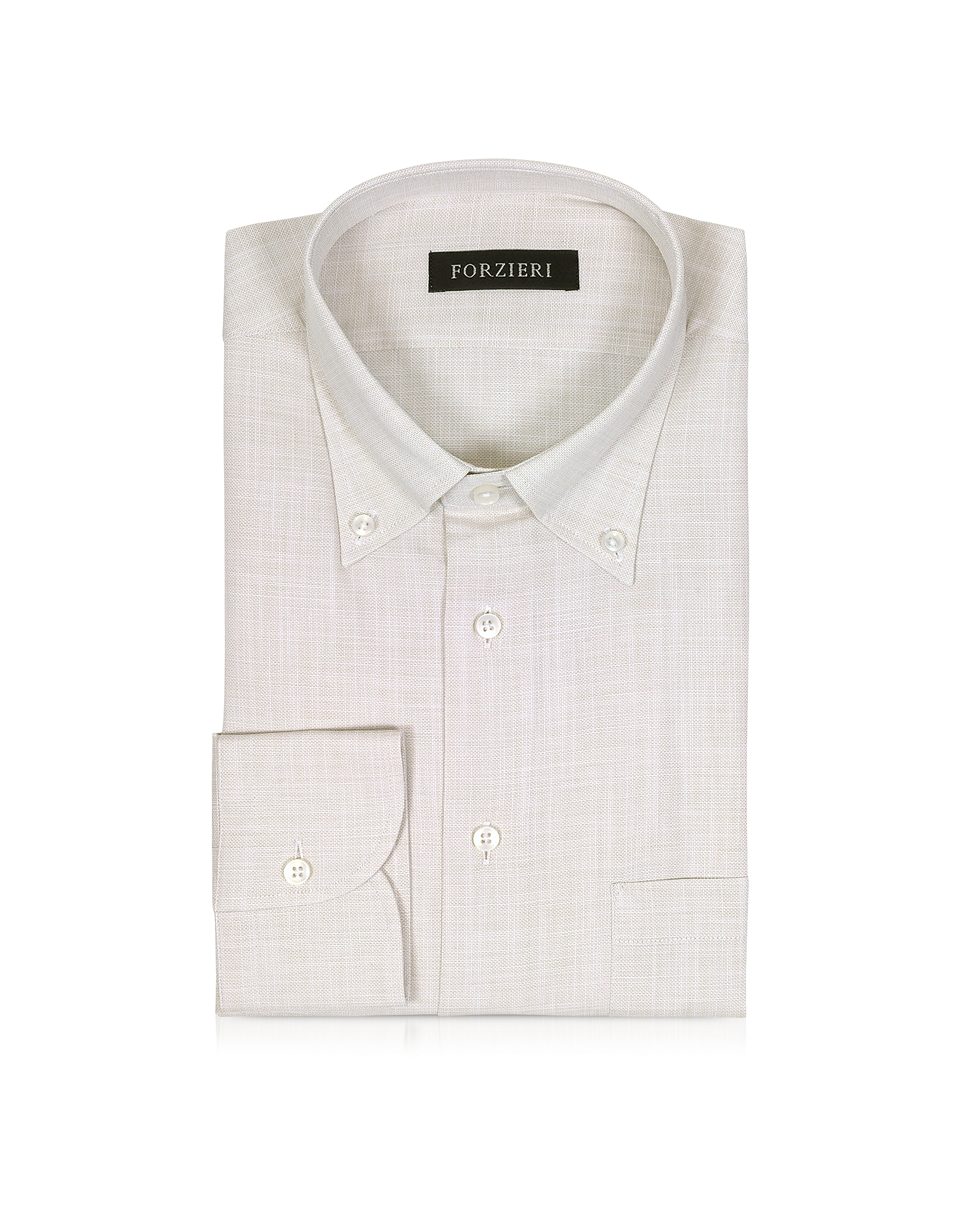 Beige Button-down Cotton Men's Shirt