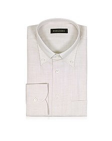 Beige Button-down Cotton Men's Shirt - Forzieri