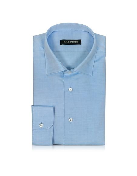 Foto Forzieri Camicia da Uomo in Cotone Intessuto Bianco/Azzurro Camicie