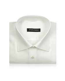 Marcus Line - Solid White Oxford Cotton Dress Shirt - Forzieri