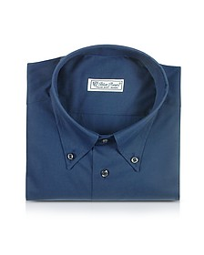 Blue Roses - Solid Blue Button Down Cotton Dress Shirt - Forzieri
