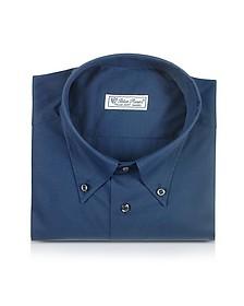 Blue Roses - Chemise en coton bleu  - Forzieri