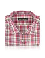 Red & Pink Checked Slim Fit Cotton Dress Shirt