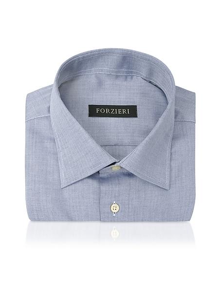 Forzieri Camicia Blue in Cotone Spigato