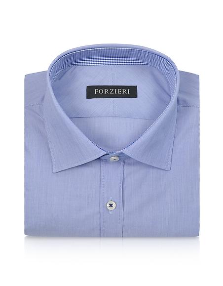 Foto Forzieri Camicia Slim Fit in Cotone a Righe Blu Camicie