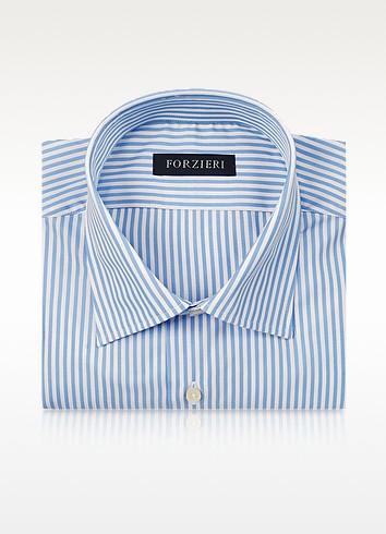 Striped White and Light Blue Cotton Dress Shirt - Forzieri