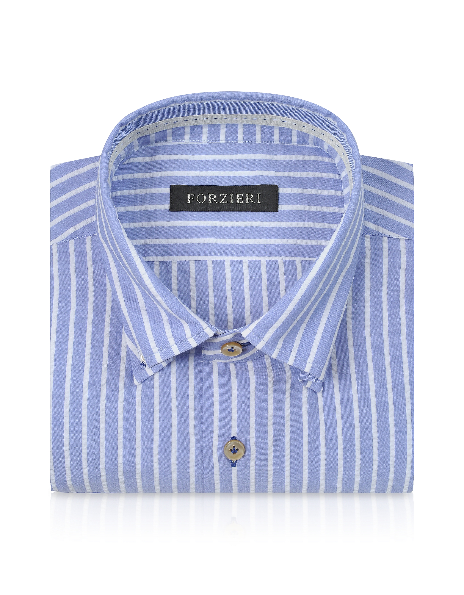 Slim Fit Striped Light Blue and White Cotton Shirt