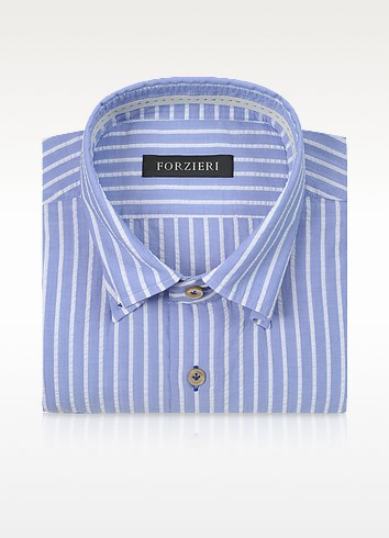 Slim Fit Striped Light Blue and White Cotton Shirt - Forzieri