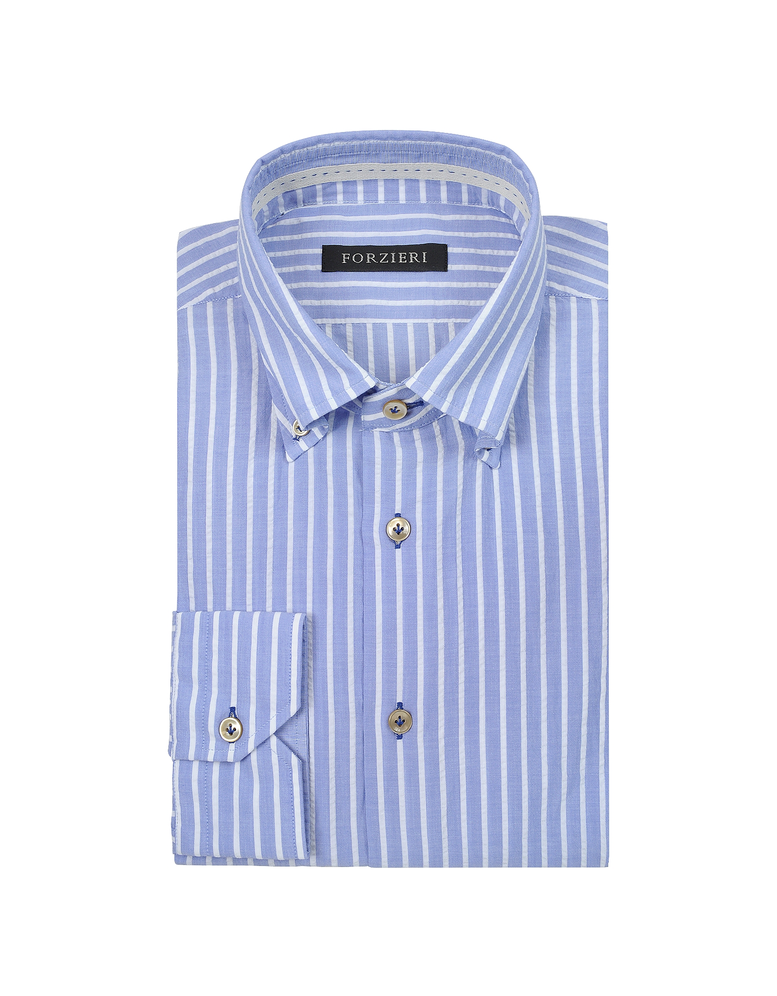 Slim Fit Striped Light Blue and White Cotton Shirt от Forzieri.com INT