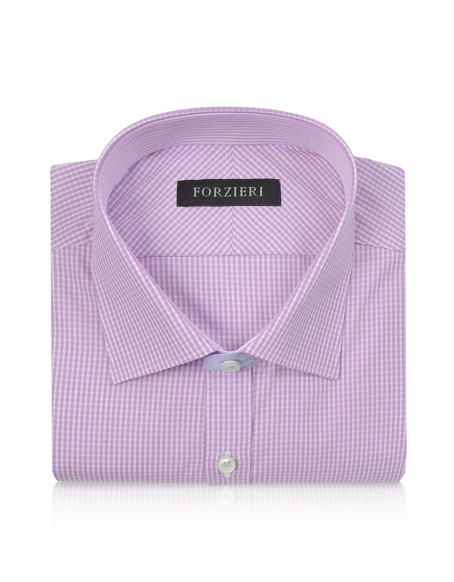 Slim Fit White and Pink Check Cotton Dress Shirt от Forzieri.com INT