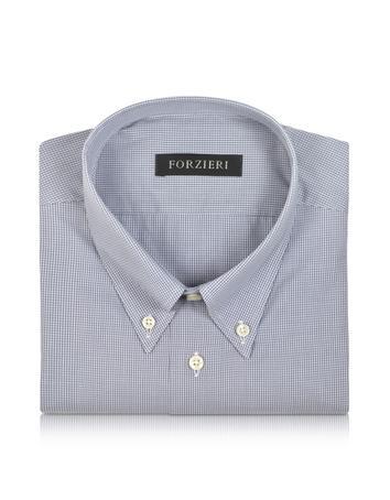Gray Micro Check Cotton Dress Shirt