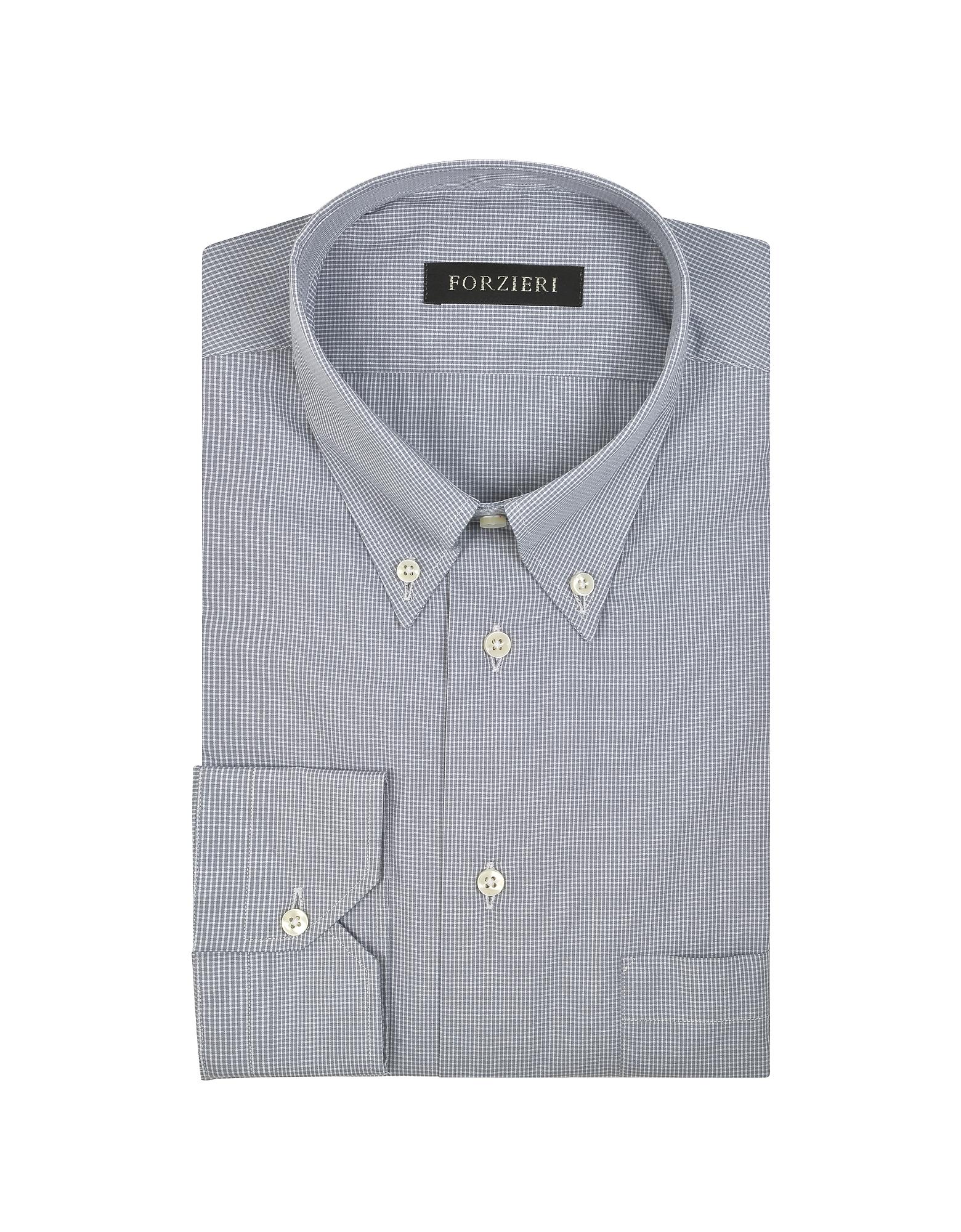 Gray Micro Check Cotton Dress Shirt от Forzieri.com INT
