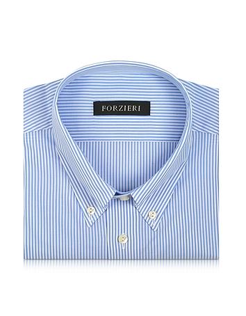 Forzieri - Light Blue Striped Non Iron Cotton Dress Shirt
