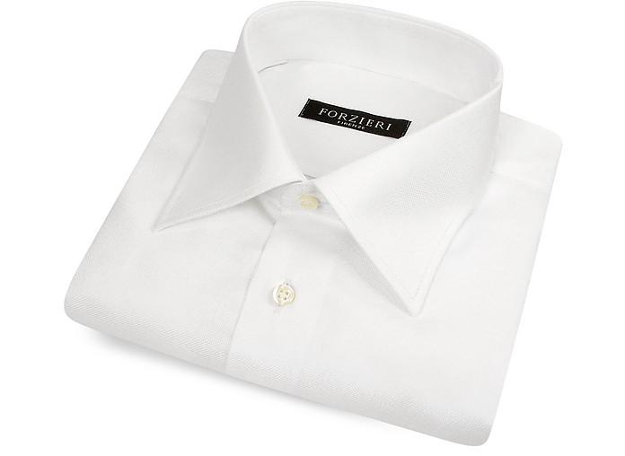 Solid White Oxford Italian Cotton Dress Shirt - Forzieri