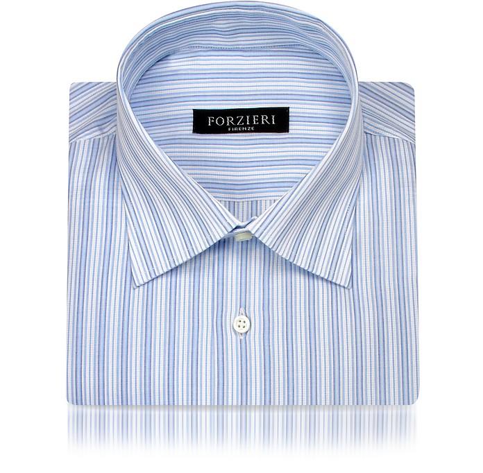 White and Blue Striped Cotton Italian Dress Shirt - Forzieri