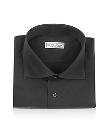 Blue Roses - Solid Black Wide Spread Collar Cotton Slim Dress Shirt - Forzieri