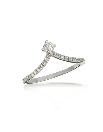 Forzieri - 0.12 ctw Diamond 18K White Gold Solitaire Ring