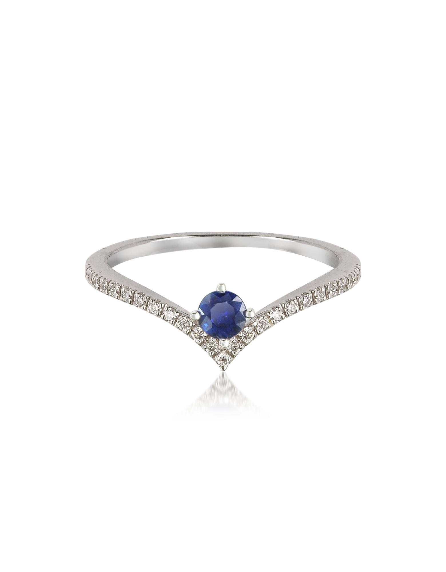 Forzieri Rings, V-Shaped Diamonds Band Ring with Natural Round Sapphire
