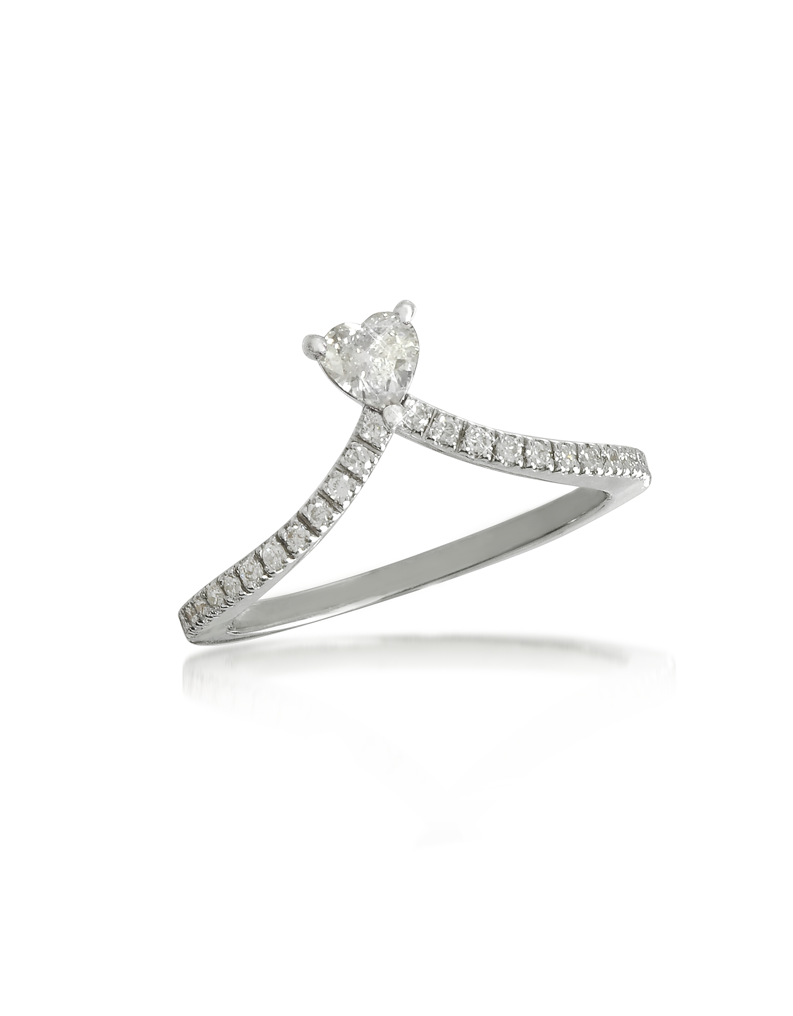 Forzieri Rings, Heart Diamond V-Shaped Band Ring