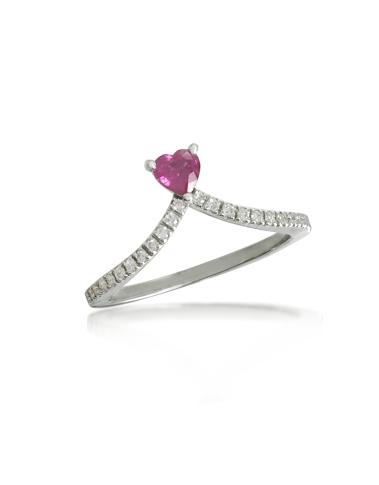 Forzieri Rings, Ruby Heart V-Shaped Diamonds Band Ring