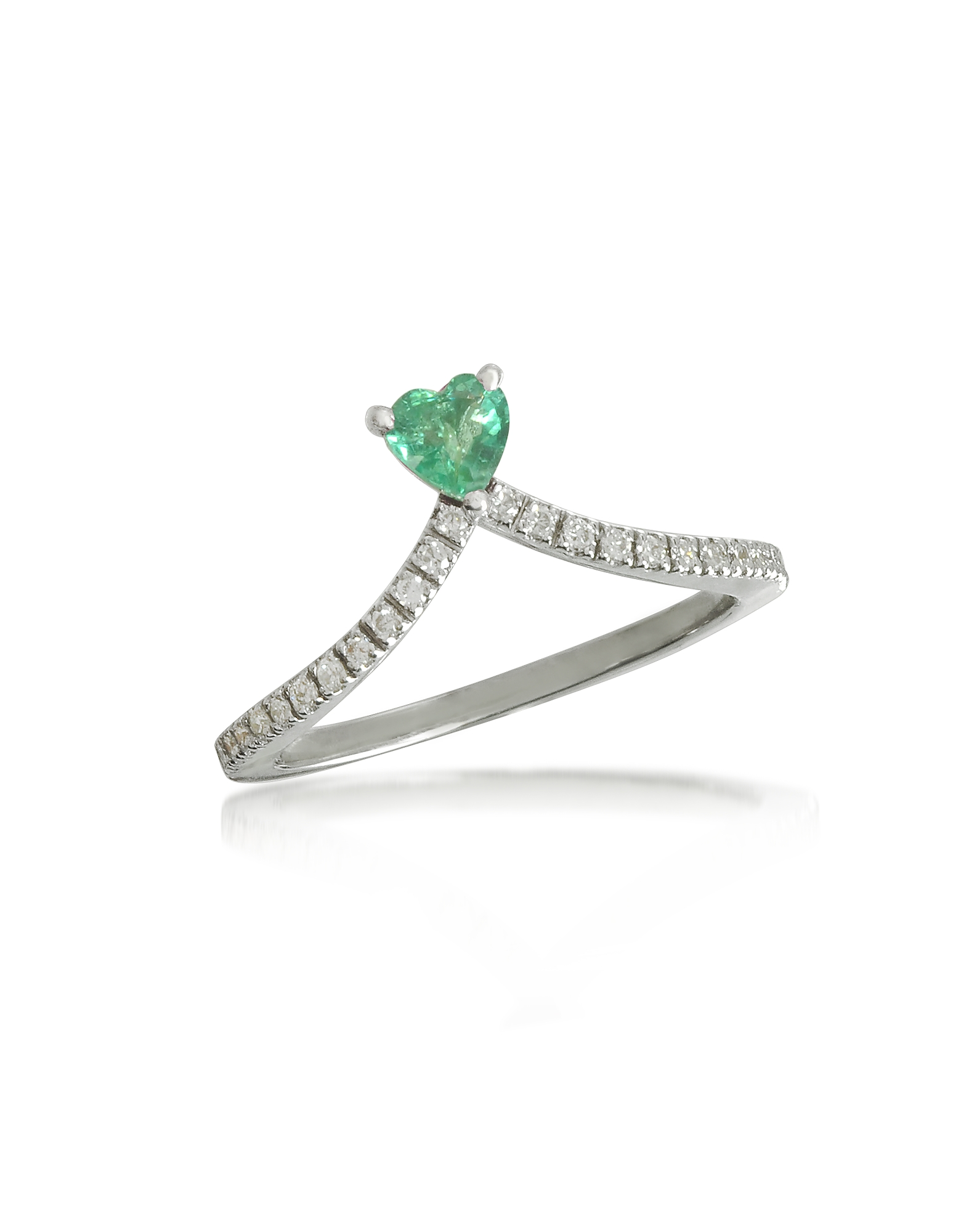 Forzieri Rings, Emerald Heart V-Shaped Diamonds Band Ring