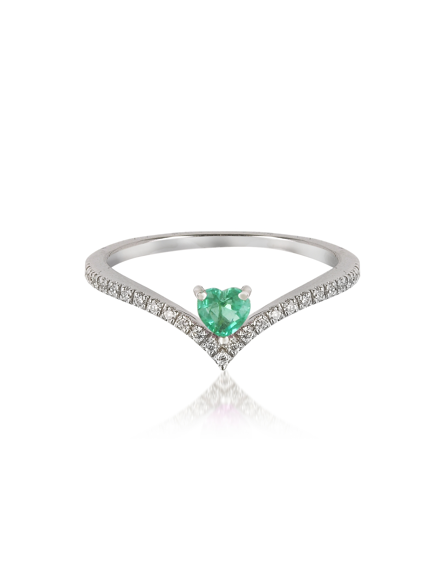 Forzieri Rings, V-Shaped Diamonds Band Ring with Enclosed Emerald Heart