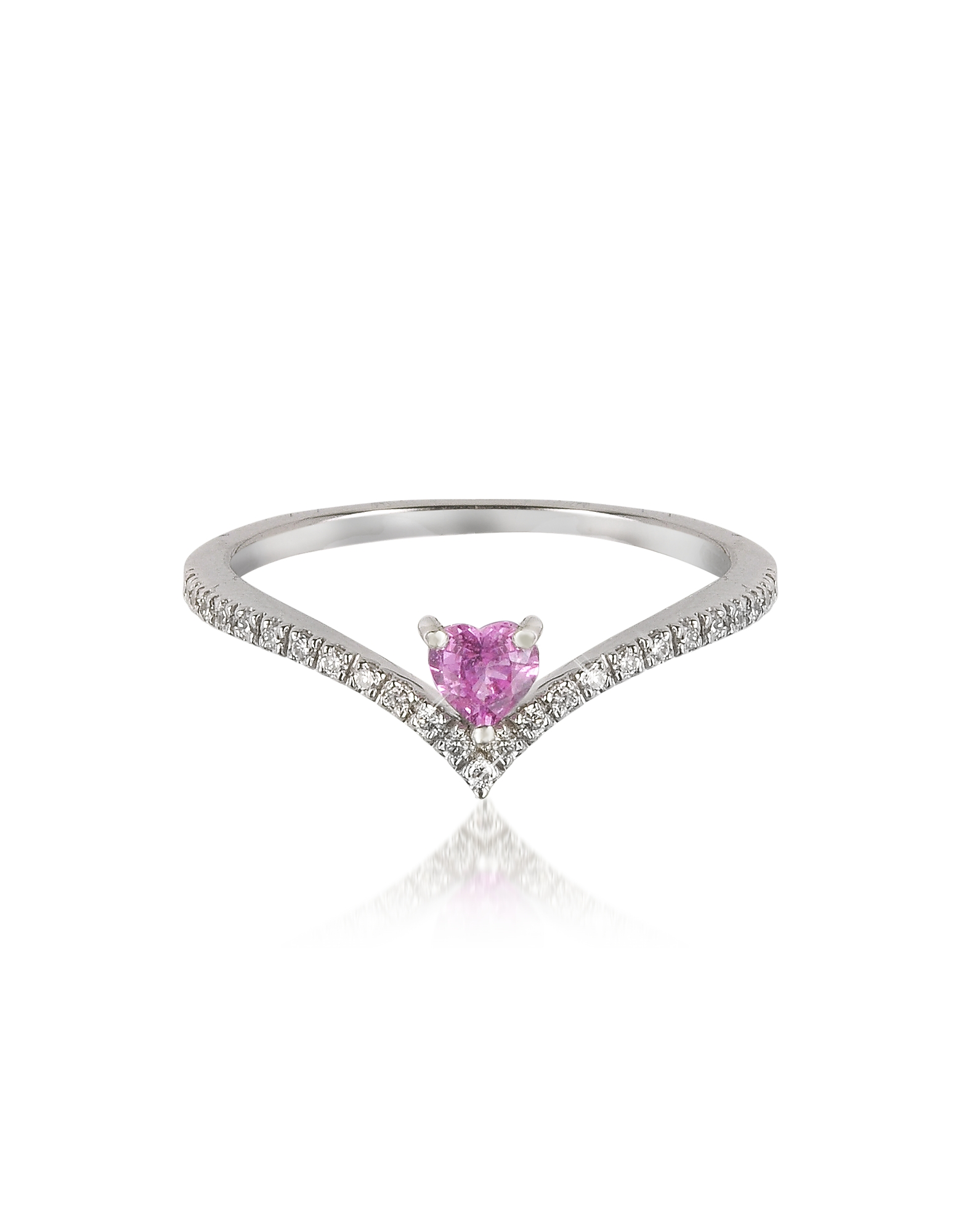 Forzieri Rings, V-Shaped Diamonds Band Ring with Enclosed Pink Natural Sapphire Heart