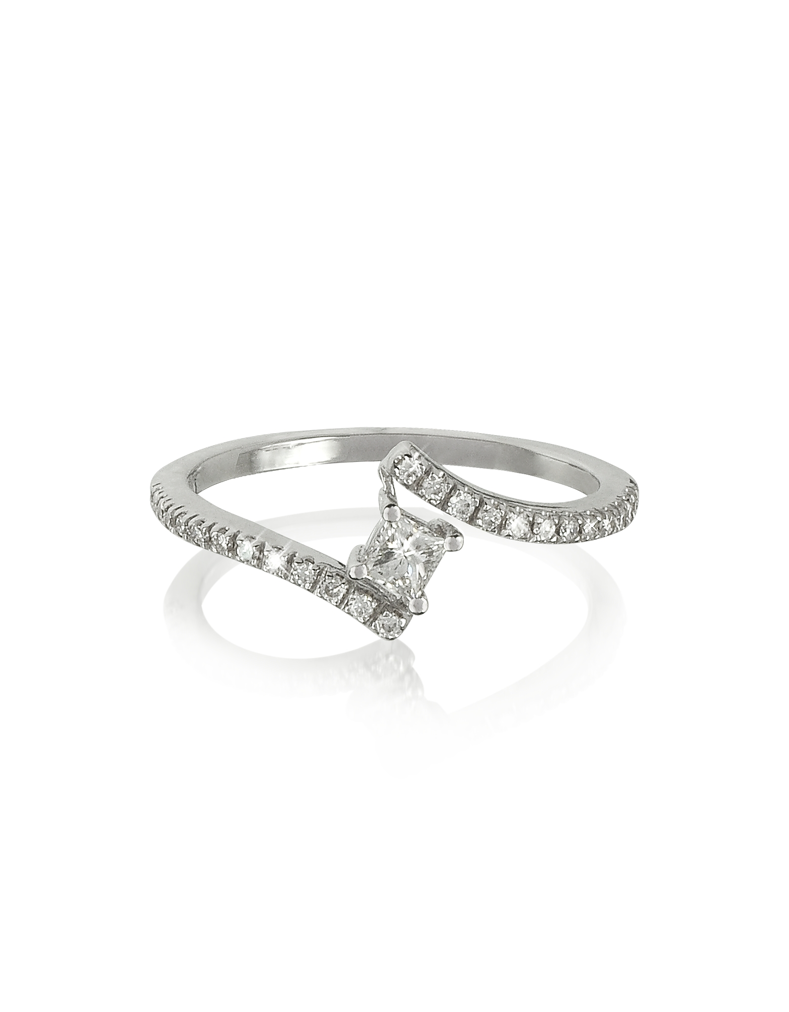 Forzieri Rings, Squared Diamond 18K White Gold Solitaire Ring