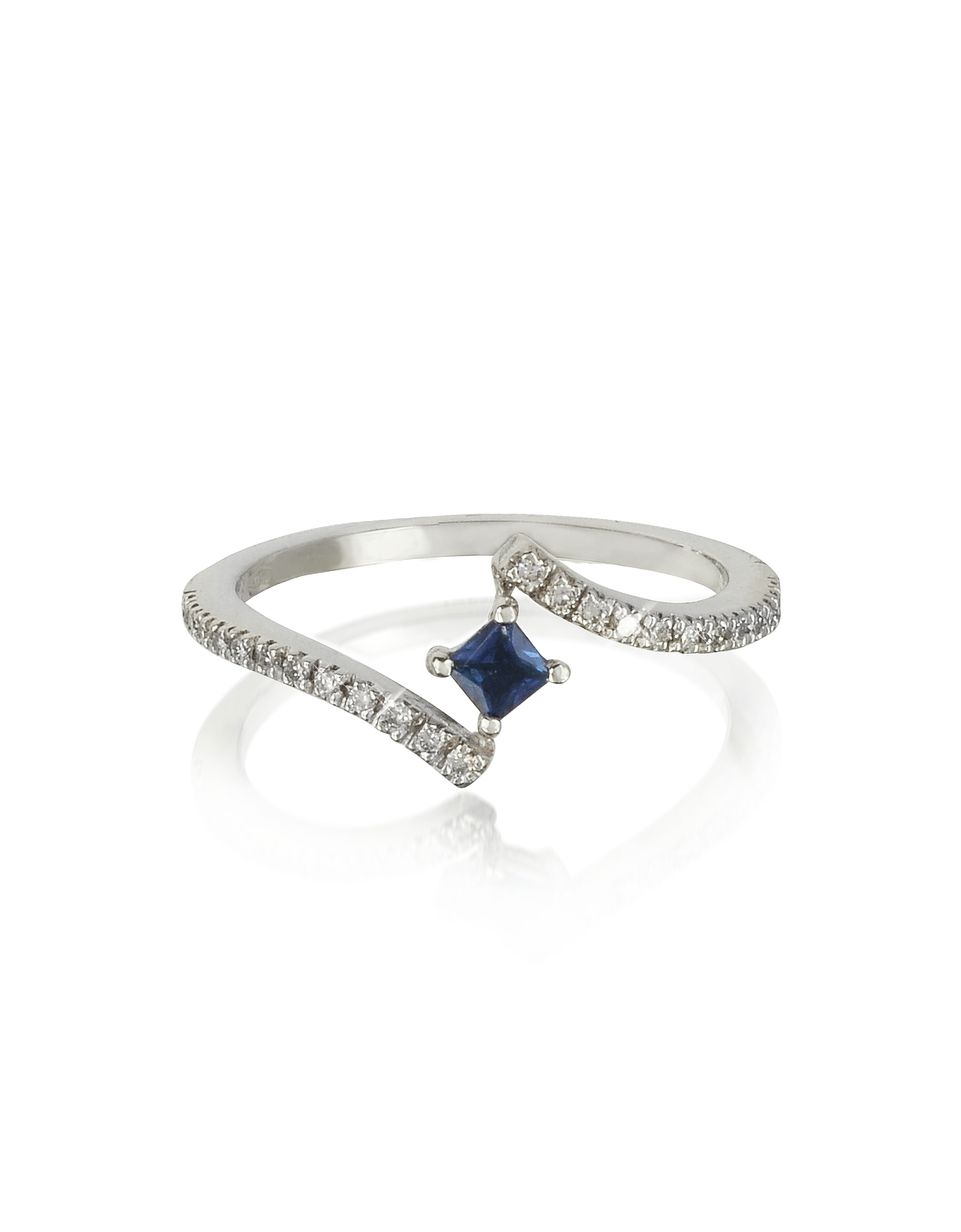 Forzieri Rings, Squared Natural Sapphire 18K White Gold Ring