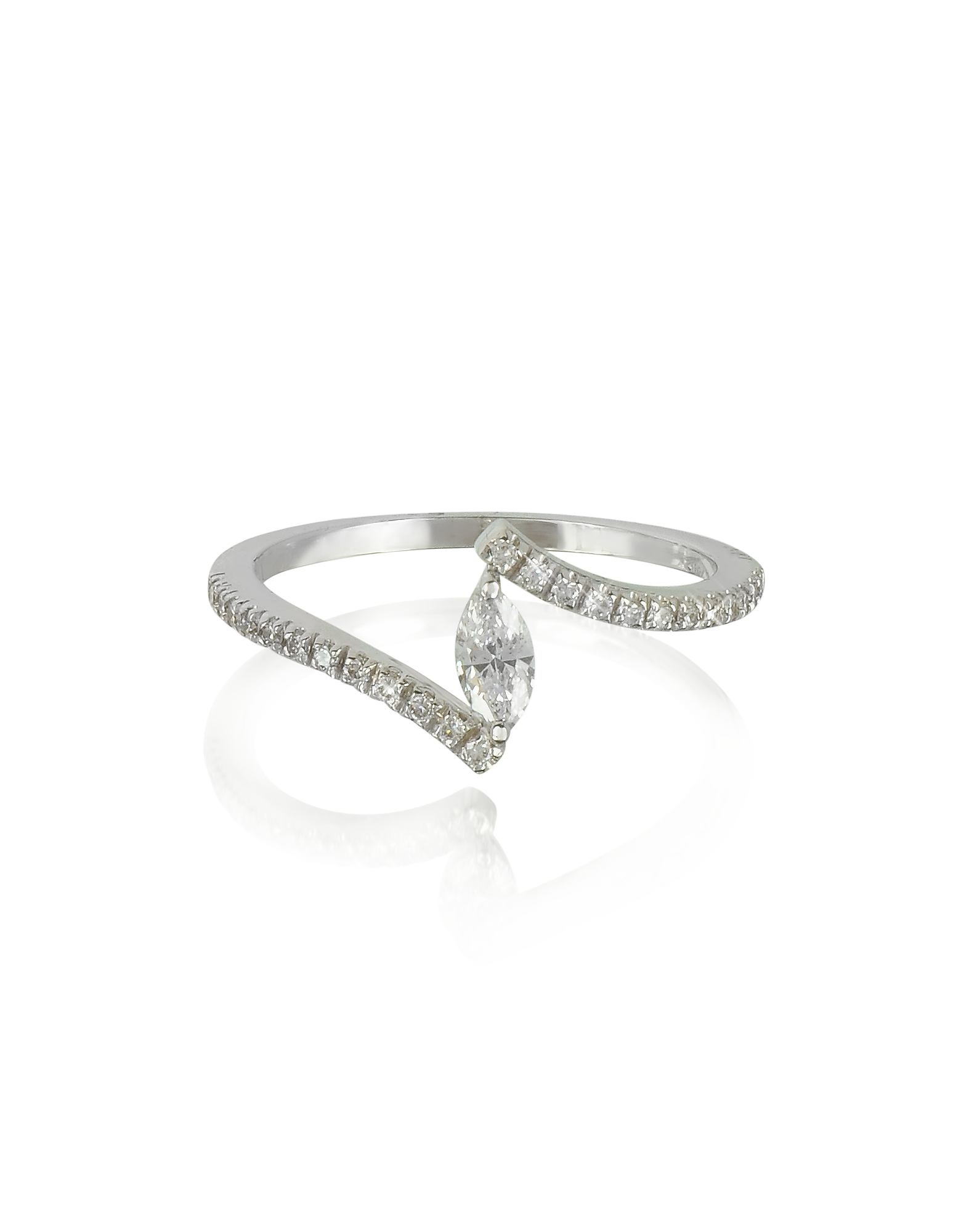 Forzieri Rings, White Gold Eye Shaped Diamond Ring
