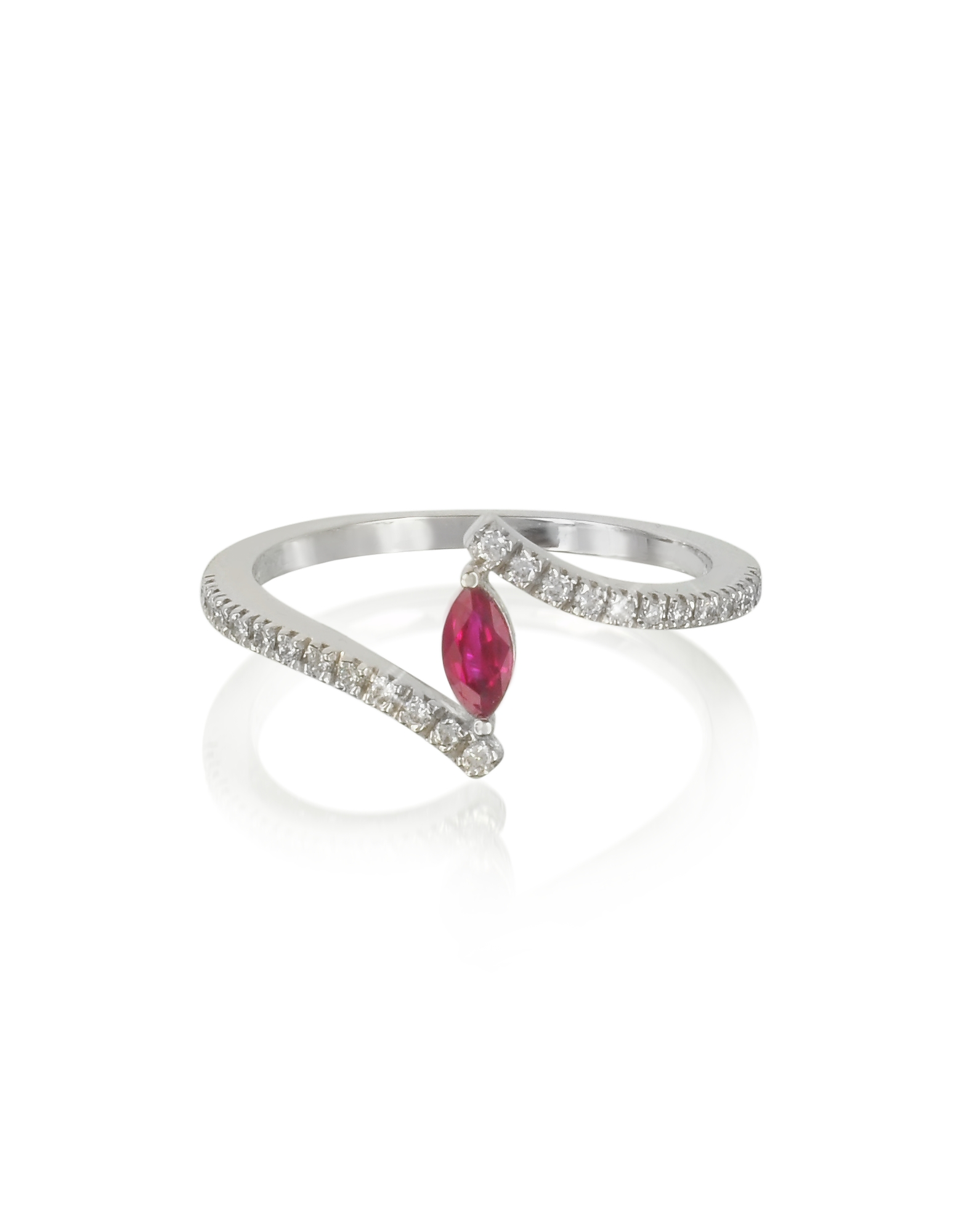 Forzieri Rings, White Gold Eye Shaped Ruby and Diamonds Ring