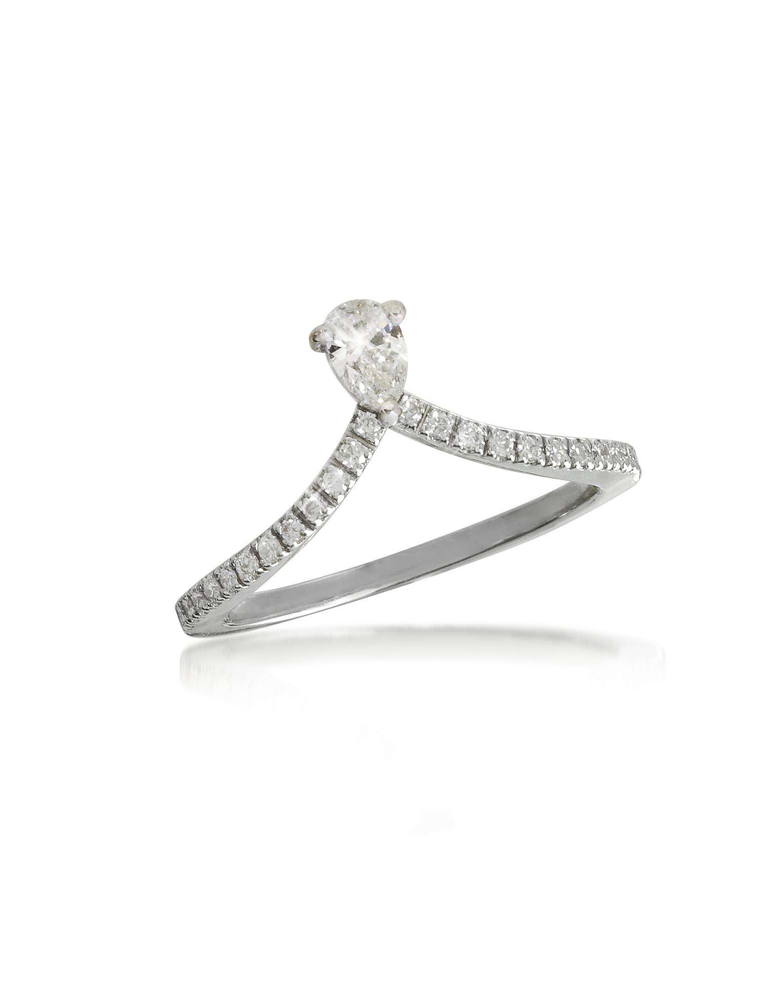 Forzieri Rings, White Gold Drop Shaped Diamond Ring