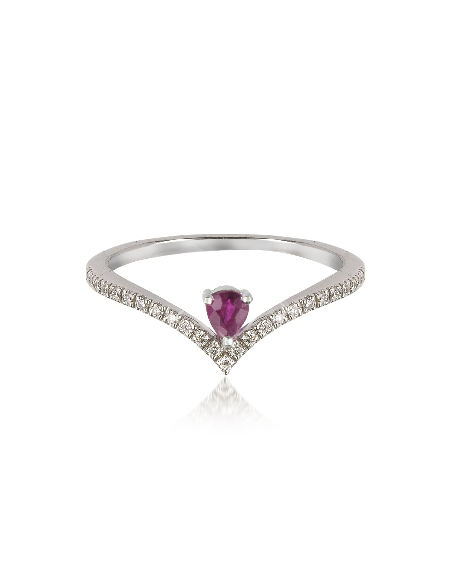 Forzieri Rings, V-Shaped Diamonds Band Ring with Enclosed Drop Ruby
