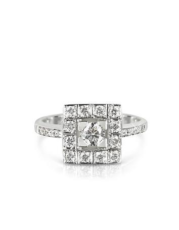 Inel din aur alb cu diamante, 18 k