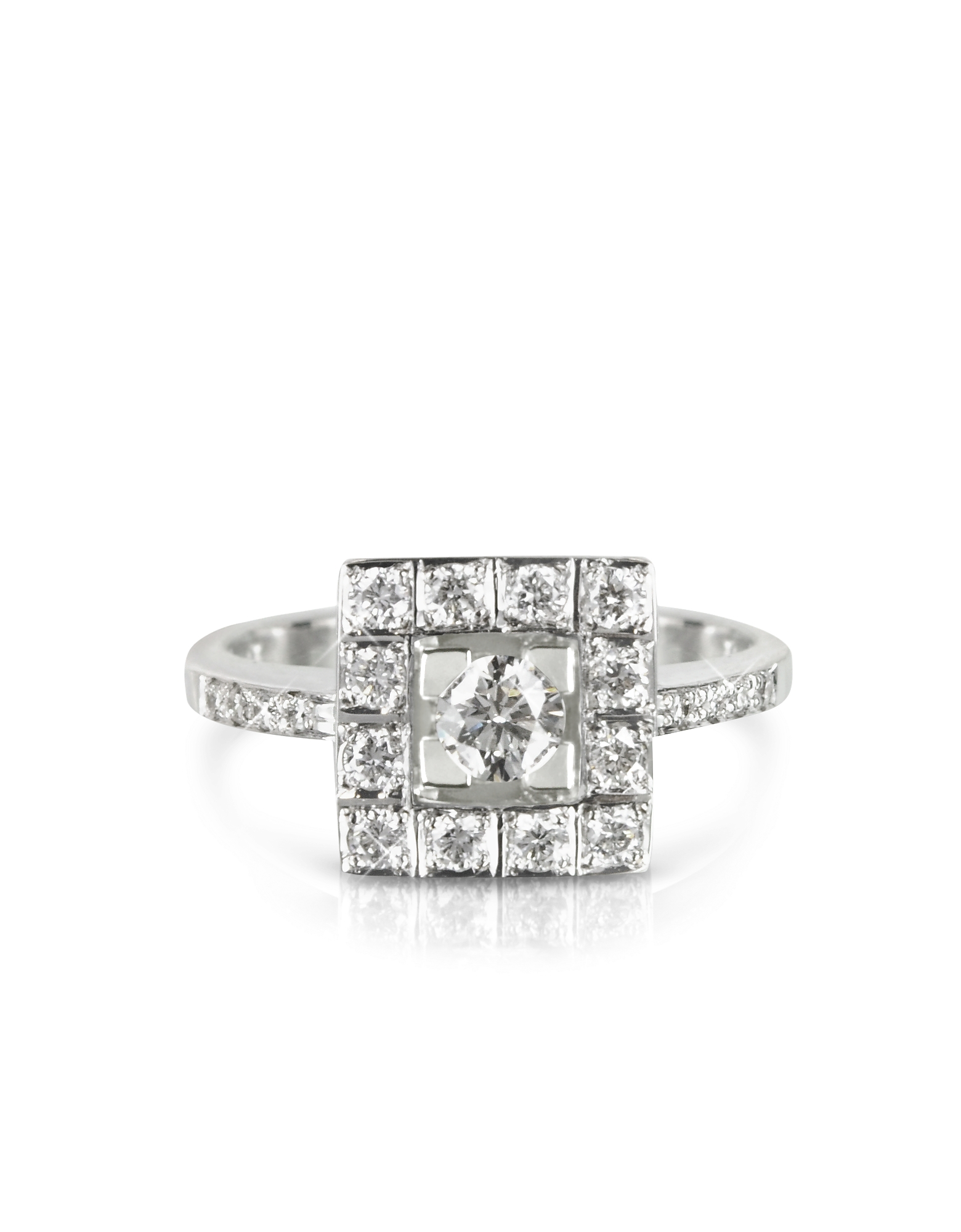 Forzieri Rings, 0.51 ctw Diamond 18K White Gold Ring