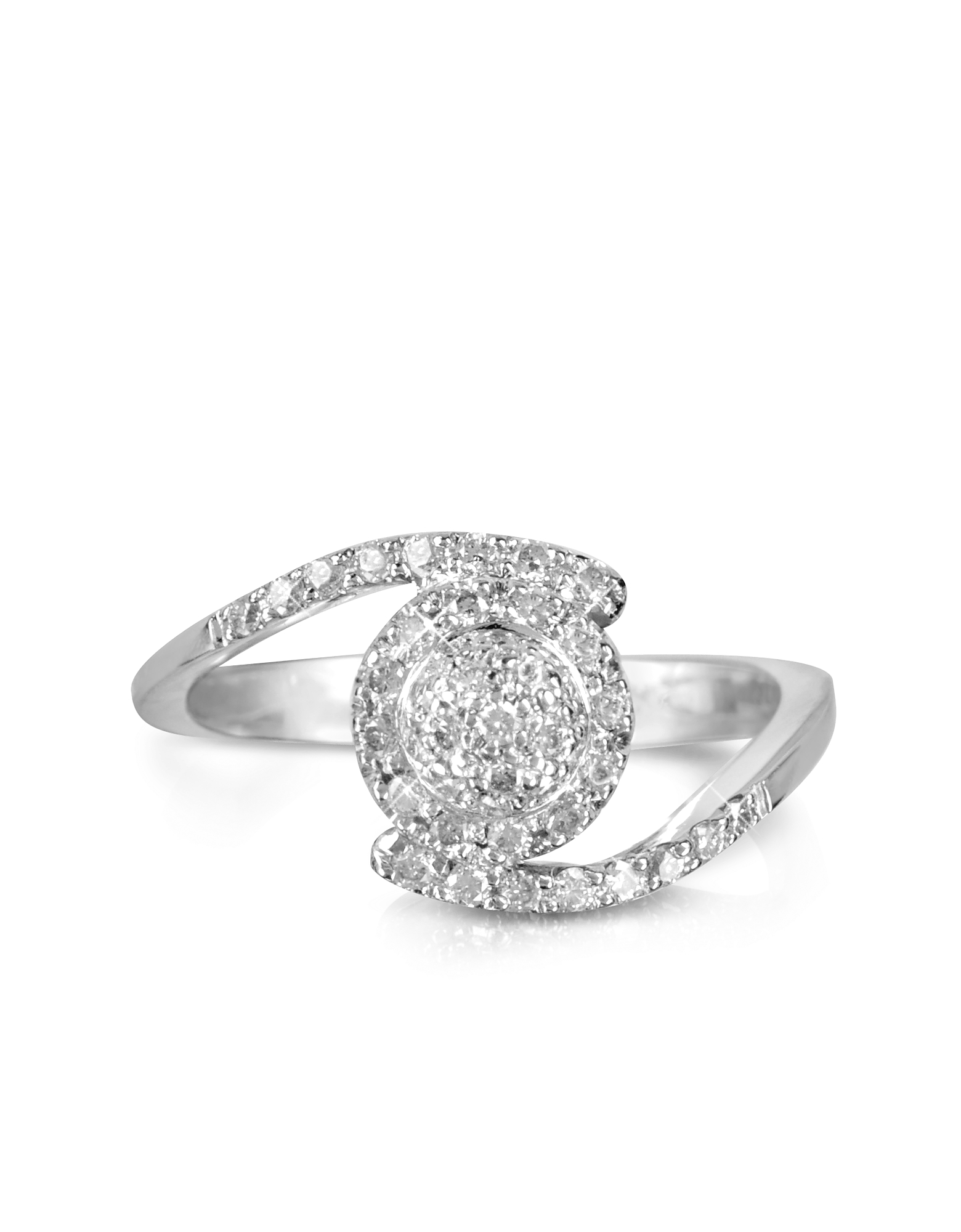Forzieri Rings, 0,35 ctw Diamond Pave 18K White Gold Ring