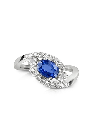 Forzieri - Sapphire and Diamond 18K White Gold Ring