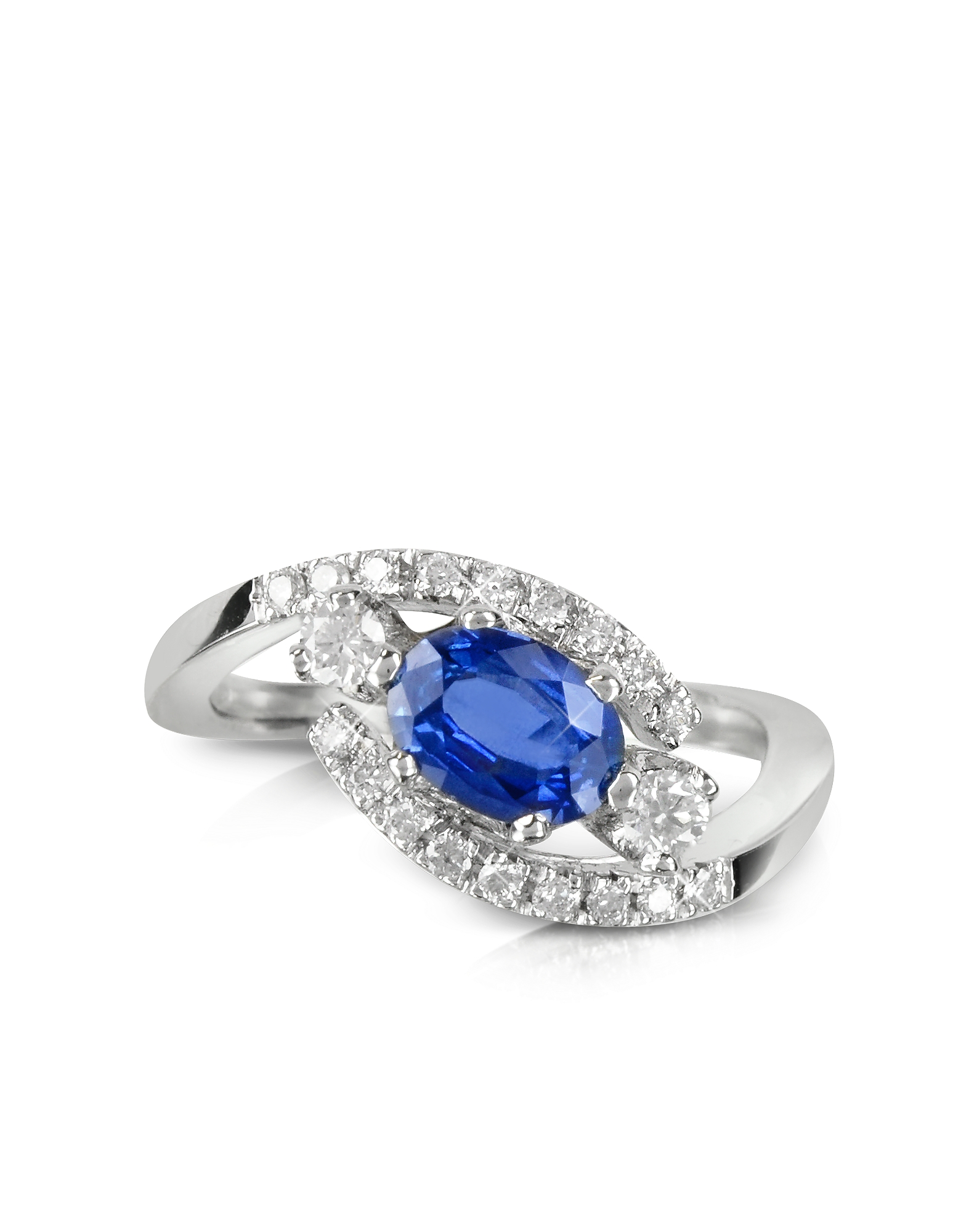 Forzieri Rings, Sapphire and Diamond 18K White Gold Ring