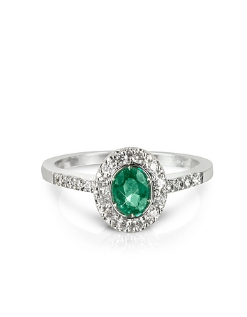 Forzieri - Emerald and Diamond 18K White Gold Ring