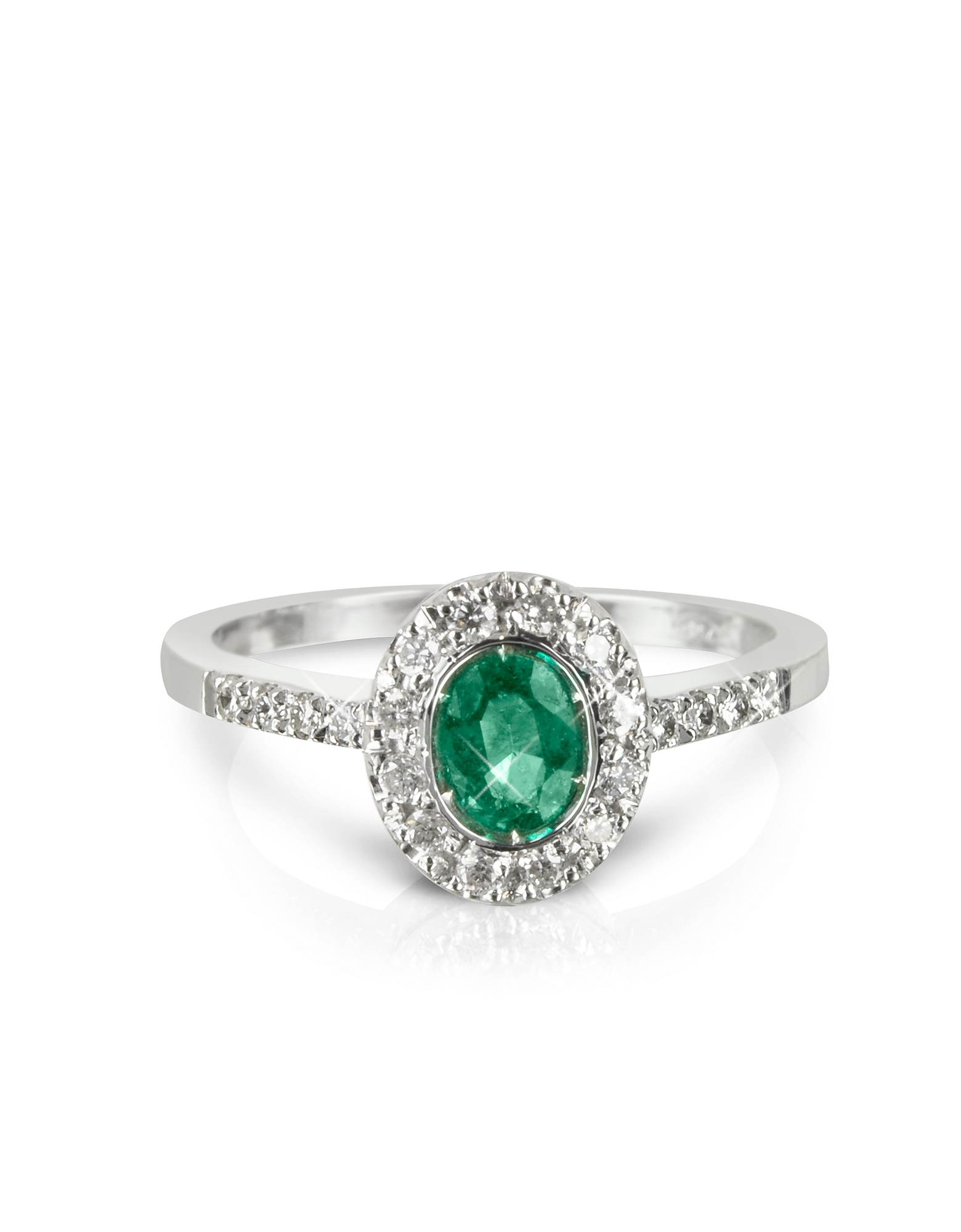 Forzieri Rings, Emerald and Diamond 18K White Gold Ring