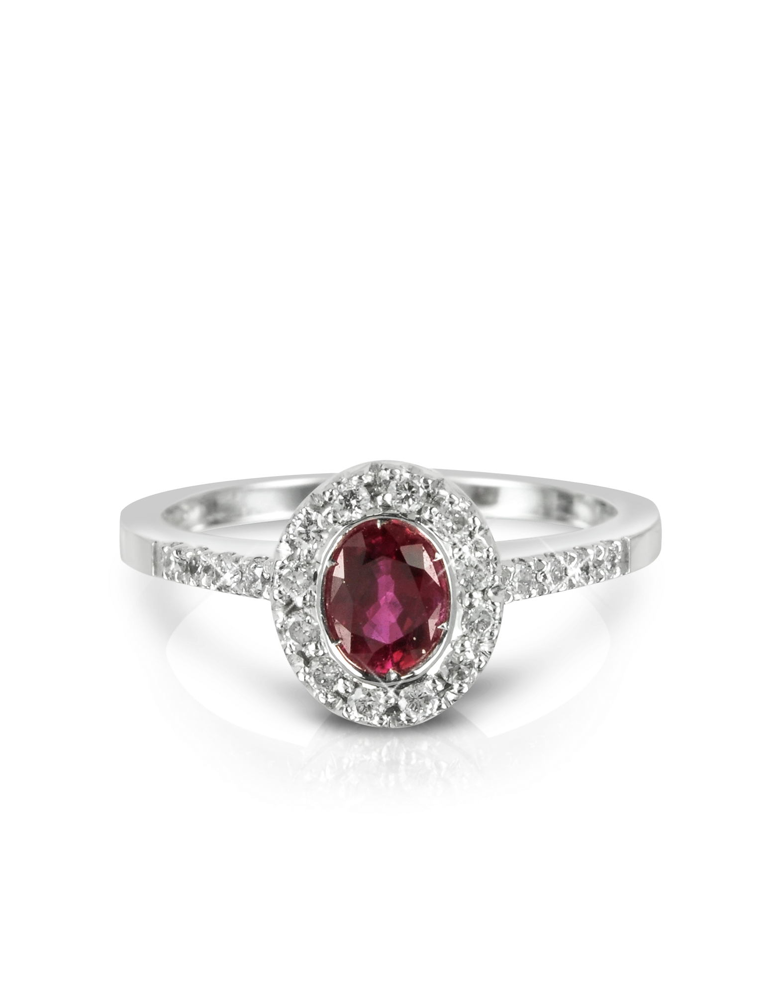 Forzieri Rings, Ruby and Diamond 18K White Gold Ring