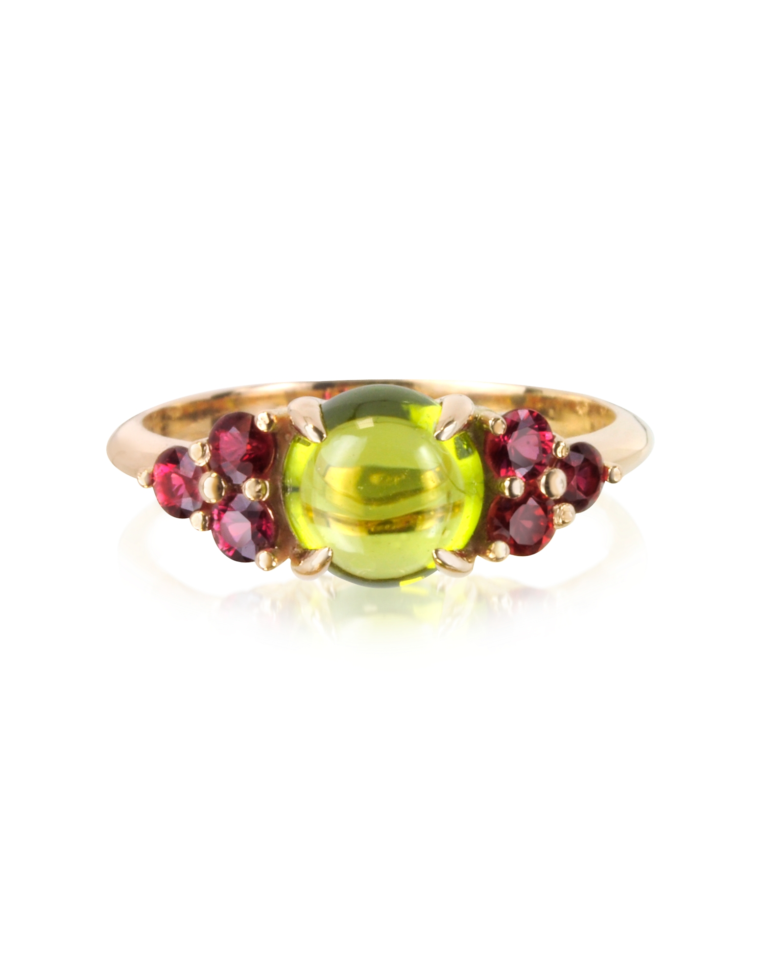 Red Sapphires and Peridot 18K Rose Gold Ring