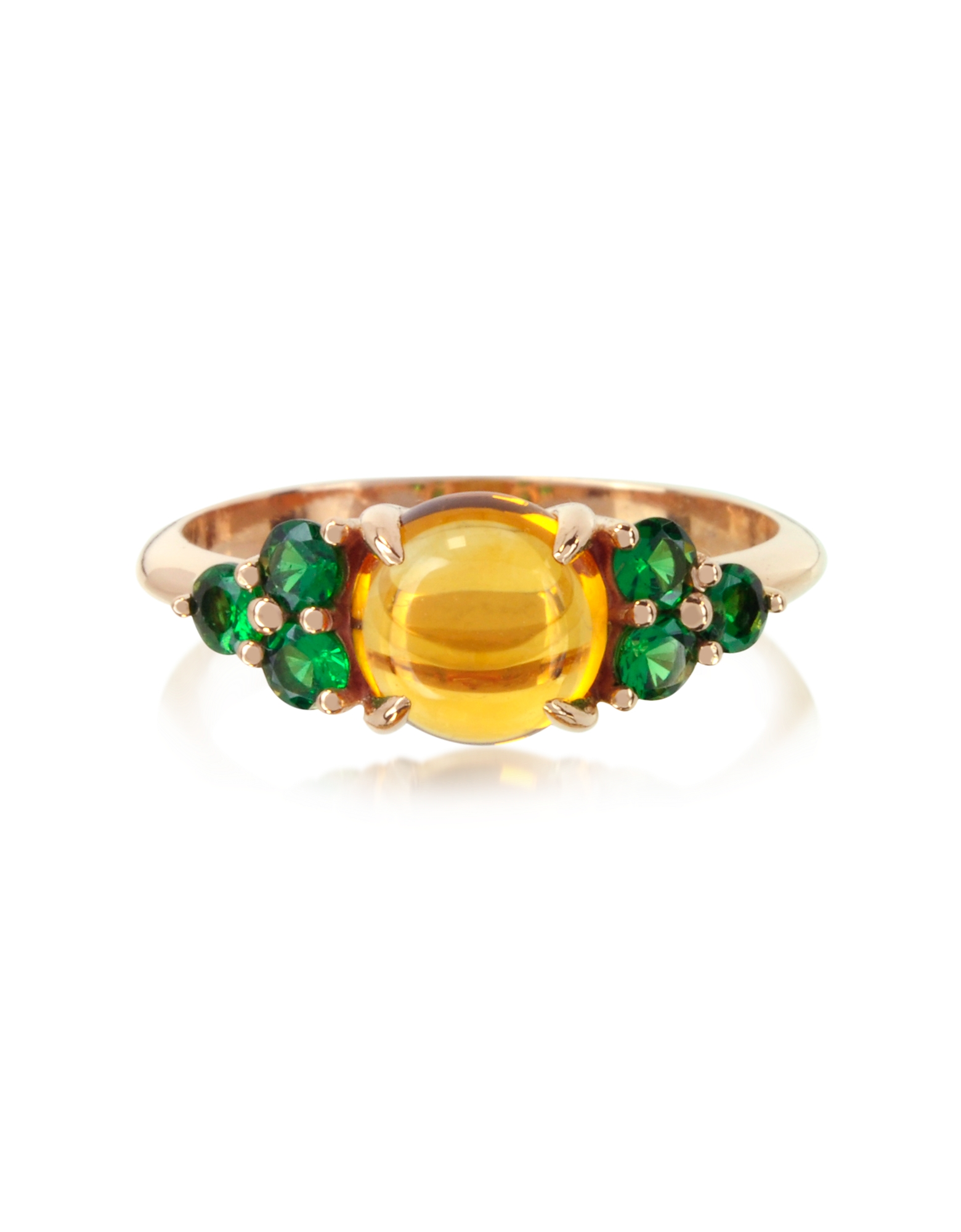 Citrine Quartz and Sapphires 18K Rose Gold Ring