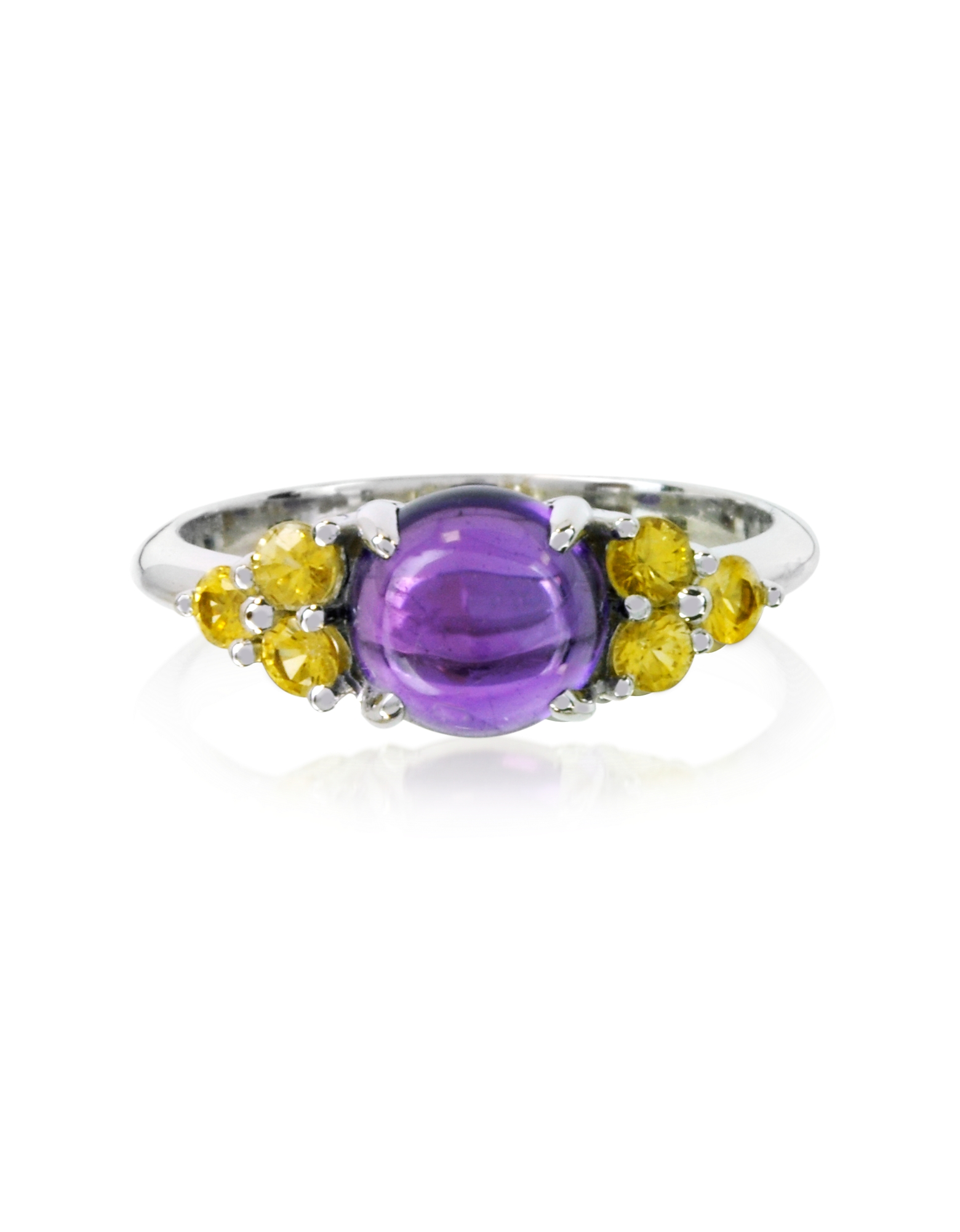 Mia & Beverly Designer Rings, Amethyst and Sapphires 18K White Gold Ring